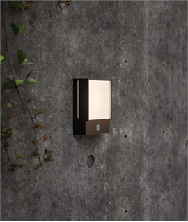 PIR Black Exterior Wall Light with Twilight Feature