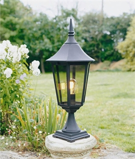 Traditional Black Exterior Lantern for Brick Piers and Pedestals