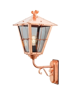 Copper & Glass Exterior Wall Lantern with Scroll
