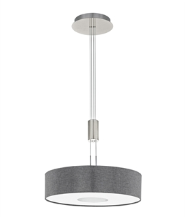 Modern Rise & Fall Pendant with Fabric Shade - Two Finishes