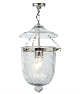 Chrome & Fern Etched Glass Lantern