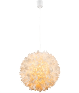 Big White Pompon Dahlia Light Pendant