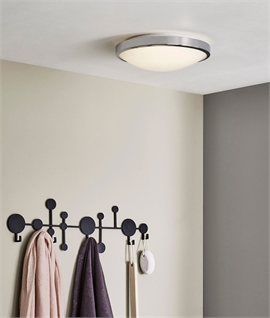 Bathroom Chrome & Opal Glass Ceiling Light