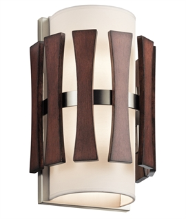 Wood Detail & Fabric Shaded Flush Wall Light