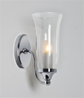 Flared Glass Cone Decorative Bathroom Wall Light