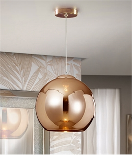 Schuller Copper Ball Pendant with LED Lamp - Glass Shade