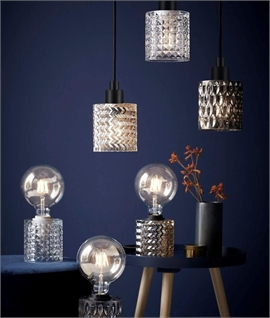 Crystal-Style Etched Glass Pendants in 3 Styles & Colours