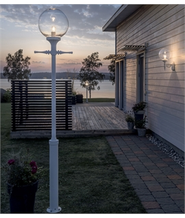 Clear Globe Lantern Lamp Post - White or Black