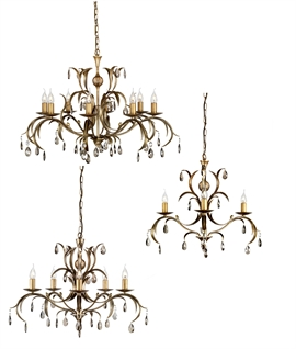 Bronze Patinated Chandelier - Gold Gilt With Glass Droplets