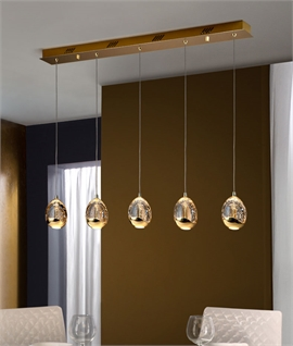 LED Glass Bar Light with Bubble Effect - Gold or Chrome