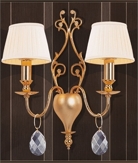 Gold Finish Double Arm Wall Light with Crystal