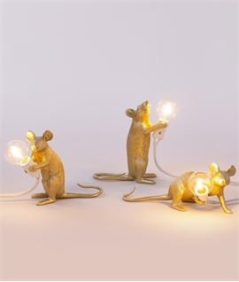 Gold Mouse Table Lamp with LED Lamp