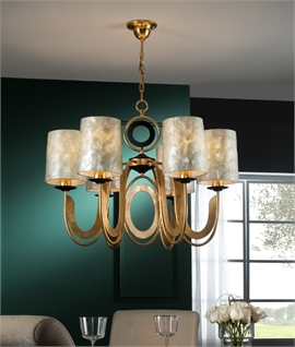Mother of Pearl 6 Light Chandelier - Gold Leaf Detail