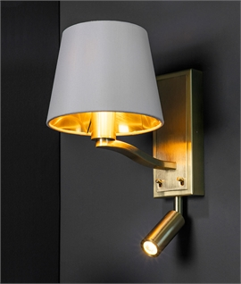 Brushed Gold Bedside Wall Light with Moveable LED Reader