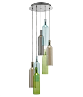 Multi-Coloured 7 Light Bottle Design Pendant