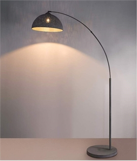 Grey Antique Metal Arch Floor Lamp