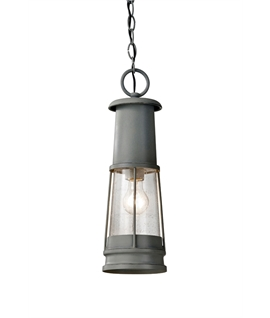 Grey Hanging Storm Lantern IP44 Rated