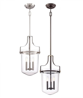 Glass Lantern with Rod Suspension & Interior Candle Lamps