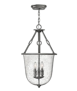 Antique Nickel Bell Jar Lantern with Faux Leather