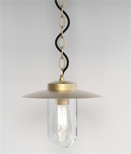 Hanging Chain Suspended Lantern In Brass - Designed For Use By The Sea