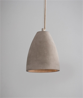 Urban Concrete Light Pendant - Cotton Rope Flex and Wire Suspension