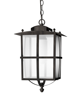 Modern Exterior Hanging Lantern - Dark Brown