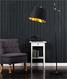 Black and Brass Floor Lamp with Adjustable Shade