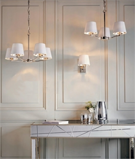 Bright Nickel Chandelier with White Shades