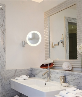 Extending Arm Bathroom Vanity Mirror - LED 5x Magnification