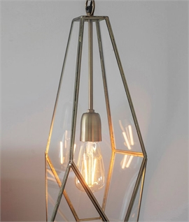 Irregular Antique Brass Glass Lantern