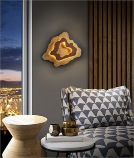 Double Layer LED Wall Light Gold Leaf and Brown Oxide