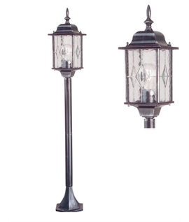 Leaded Glass Exterior Pillar Lantern - Decorative Glass
