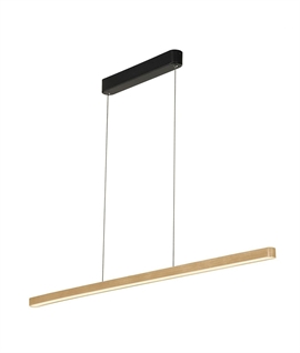 Bamboo & Steel - Slim Linear LED Pendant
