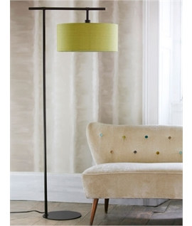 Dark Brown Floor Lamp with Lime Shade