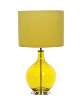 Glass Base & Fabric Shade Table Lamp