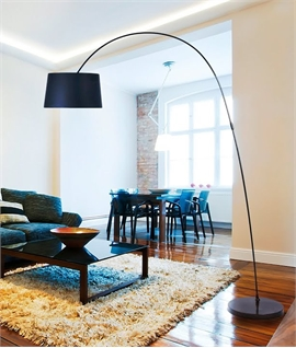 Long Reach Black Fabric Shaded Floor Lamp