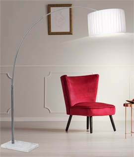Long Reach Satin Nickel & White Shaded Floor Lamp