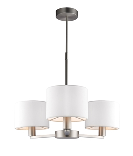 Matt Nickel Chandelier with White Fabric Shades
