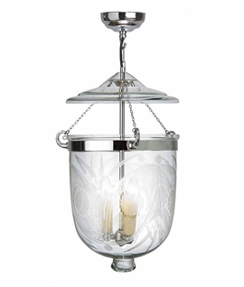 Chrome & Fern Etched Bell Jar Glass Lantern