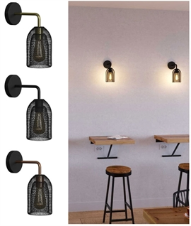 Black Mesh Shade Italian Designer Wall Light - 3 Finishes