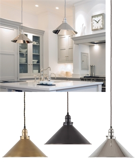 French Style Pendant with Metal Coolie Shade in 3 Finishes