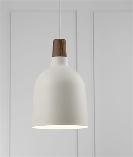 Metal & Oiled Walnut White Pendant