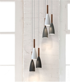 Slim Metal Pendant With Wood Detail - 4 Colours