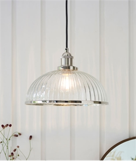 Industrial Style Ribbed Glass Pendant with Nickel Plating