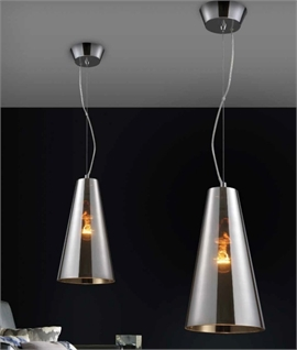 Striking Modern Smoked Glass Pendant Light