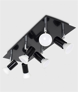Rectangular Ceiling Plate with 6 Spots - Fully Adjustable