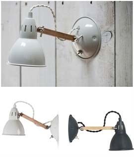 Vintage Style Wall Light with Oak Arm