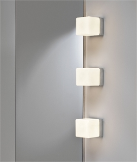 Square Chrome & White Glass Wall Light 80mm