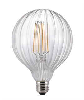 E27 125mm Globe 2w LED Filament - Fluted Glass
