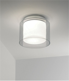 Twin Glass Bathroom Ceiling Light   IP44 Rated ...